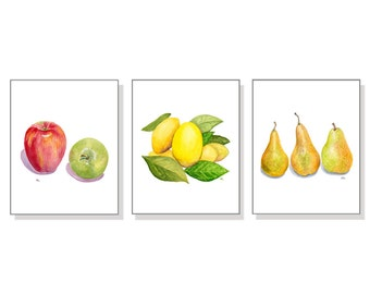 Fruit Art Fruit Print Fruit Painting Fruit Watercolor Print Fruit Watercolor Art Kitchen Art Kitchen Print Apples Lemons Pears Set Of 3.