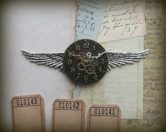 "Steampunk ""Time Flies"" Brass and Silver Clock Face Wings Pin"
