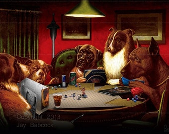 Dogs Playing D&D (1st edition version) - Full Color Poster