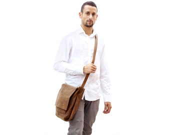 Sale!!! Mens leather messenger bag Distressed brown Mens messenger bag Leather laptop bag Limor Galili Handmade!!