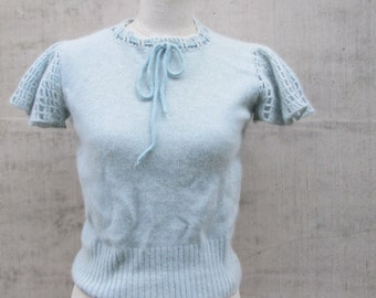 Pretty Petite  Vintage Powder Blue Angora Lambswool Sweater, Short Flutter Sleeves