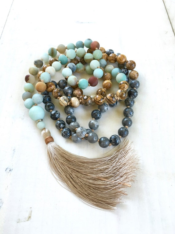 Amazonite And Jasper Mixed Mala Beads, Knotted 108 Bead Mala, Healing Mala Beads, Original Mala Necklace, Designer Gemstone Mala, Yoga Beads