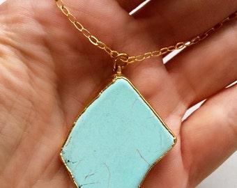 Laguna - Turquoise Howlite Edged in 24k Gold Pendant Necklace. Large Charm Necklace. Pendant Necklace.