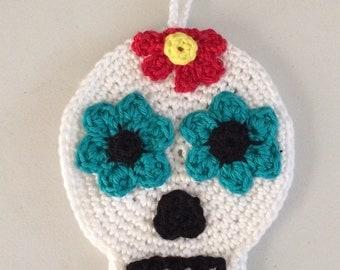 "Crochet Sugar Skull ""dia de los muertos"" hanging decoration"