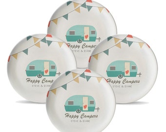 Set Of 4 Personalized Camping Plates Melamine Travel Trailer 10 Plate