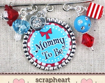 Mommy To Be Pin, PERSONALIZED Grandma To Be Pin, New Nana Grammy Gift, Teal and Red Baby Shower, Aunt To Be Pin, Baby Shower Name Tags