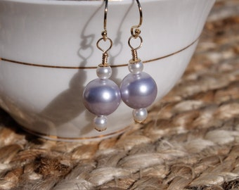 Swarovski Crystal Pearl Drop Earrings, Dangle, Lavender and White, 14K Gold Filled, Gift for Her