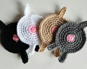Crochet DOG Butt Coasters (Set of 4)