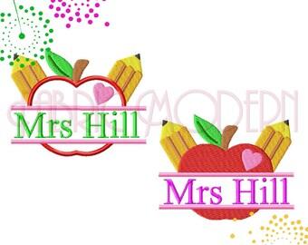 APPLE FOR TEACHER Split Frame Machine Embroidery Design, split monogram, filled and applique', 4x4, 5x7, 6x8, teacher gift, #713