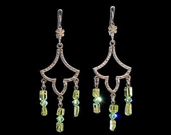 Jewelry Earrings Sterling silver earrings Dangle earrings Earrings with gemstone and Swarovsky crystals