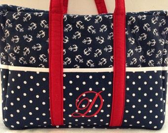 Blue Chevron Anchor Diaper Bag, sport, Diaper Bag, Personalized Bag Monogram - Diaper bag-Custom diaper Bag, Pink Diaper Bag - Anchor Bag