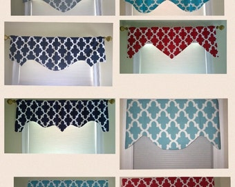 Turquoise valance, window valance, scalloped valance, decorative valance, window treatment, window curtain, home decor