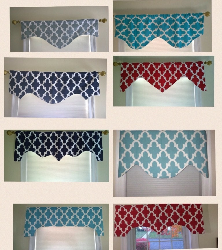 Turquoise Valance Window Valance Scalloped Valance
