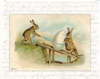 50% OFF SALE Digital Easter Postcard Victorian - Antique Vintage Rabbit Hare Egg -  Old Easter Card Printable Download -  Illustration INSTA