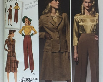 Simplicity 3688 Women's 1940 Retro Blouse, Skirt, Pants and Jacket Pattern size 10-18 uncut
