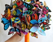 Wedding Butterfly bouquet Engagement ideas Fairy tales  Bridal bouquet multicolor Girlfriend gift Orange Purple Blue Rainbow Bridesmaids
