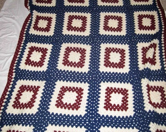"On Sale, Afghan Crochet Blanket 56"" x 74"" Made In Red, White And Blue In Squares,Handmade,Blanket Crocheted"