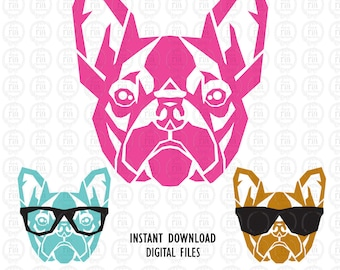 Boston Terrier unique poster style digital cutting files, ai, eps, SVG, DXF, studio3 vector files for cricut, silhouette cameo, vinyl, decal