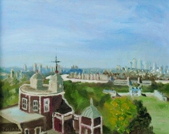 The City of London from the Royal Observatory, Greenwich Park     - An original Oil Painting!