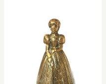 Brass Woman Bell, Brass Lady Bell, Brass Colonial Woman Statue, Antique Brass Bell, Unique Brass Handheld Bell, Vintage Home Decor