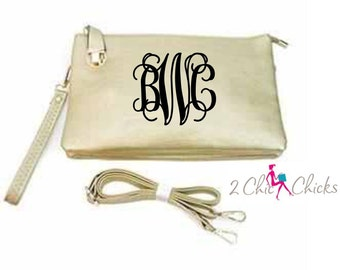 Monogram Crossbody Purse with buckle closure , monogram clutch, monogram handbag, bridesmaids gift, crossbody bag embroidered purse
