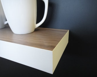 Floating shelves - Walnut-White - Modern Shelves - Wall Shelf - Book Shelf - Wood Shelf