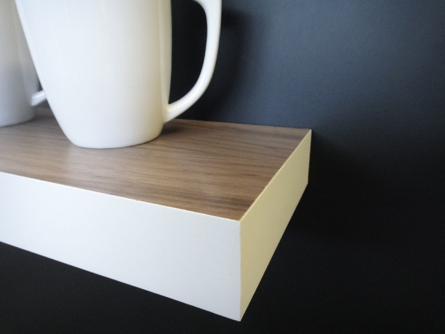 Floating shelves walnut white modern shelves wall shelf Modern floating wall shelves