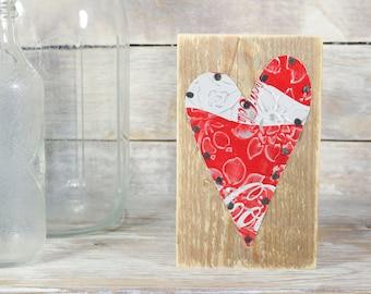 Coke Coca Cola Soda Can Art Heart on Reclaimed Wood