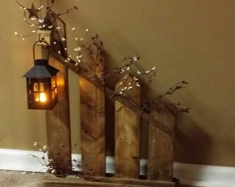Rustic Home Decor,Primitive lantern candle holder decor, Rustic picket fence,  lantern,  cottage decor, Farmhouse decor, country decor