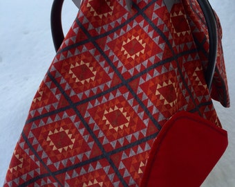 Red Aztec, geometric, gender neutral baby car seat canopy