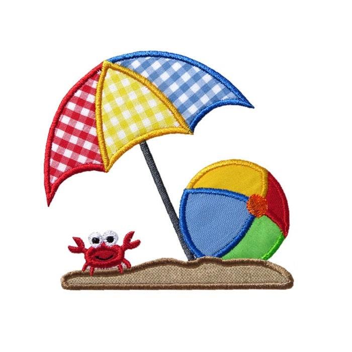 Beach umbrella ball applique machine embroidery digital design