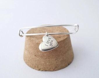 I love you silver heart charm bangle bracelet