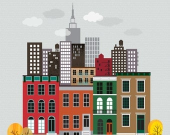 New York Row Houses art print, wall poster