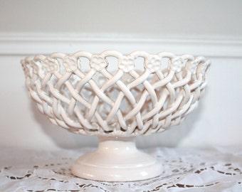 French Provincial, White Ceramic Bowl, French Ceramic, Pottery Fruit Bowl, French Pottery, French Country, French Bowl,French Kitchen Decor