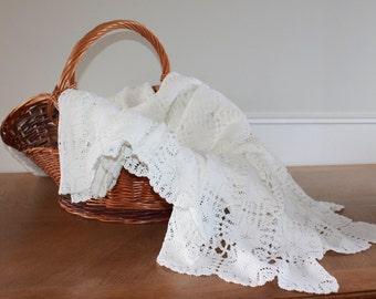 LARGE, Crochet Bedspread, French Linen, Crochet Throw,French Laundry,French Lace,Crochet Shawl,Crochet BedCover, Lace Bedspread,Lace Bedding