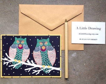 Two Sleeping Owls postcard, Colorful Owls illustration, Owls In The Dark