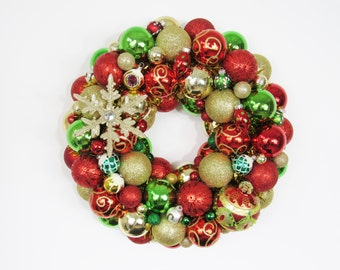 Christmas Ornament Wreath - Red and Green Holiday Wreath - Gold Christmas Decor - Glass Ornament Wreath