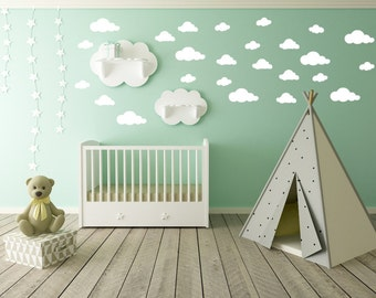 Cloud Wall Decals Etsy - Baby room decals