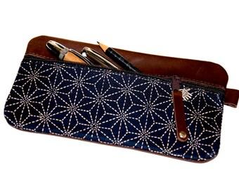 Pencil case  LEATHER  & fabric asanoha  dark blue  JAPANESE UNIQUE