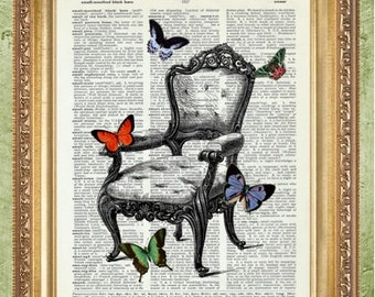 Butterfly and Chair Dictionary Art Prints Art Print Wall Decor Vintage Dictionary Print Dictionary Prints Book Page Art MHP Original