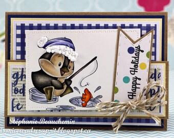 Pengouin fishing on ice Happy Holidays card