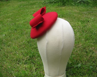 Red Felt Beret with Bow