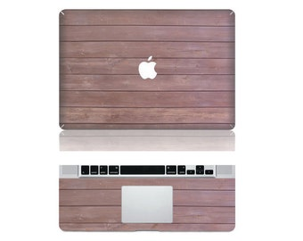 "Macbook Oak Wood Front & Wrist Sticker Vinyl Decal Cover For Macbook Pro 13"" Comes with free keyboard cover and gift"