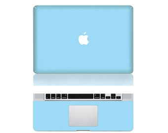 "Macbook Baby Blue Front & Wrist Sticker Vinyl Decal Cover For Macbook Pro 13"" Comes with free keyboard cover and gift"