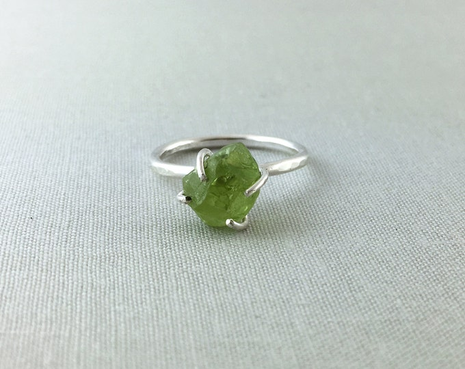Catalina Ring - Peridot / California Collection // raw peridot ring, sterling silver ring, bohemian jewelry, raw gemstone ring, crystal ring