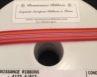 "High quality striped Renaissance Ribbon woven ribbon - pink, orange and white - 1/2"" wide - 5 yards"