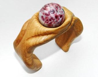 Wooden bracelet with lampwork, Wooden bangle, Oak Bangle.