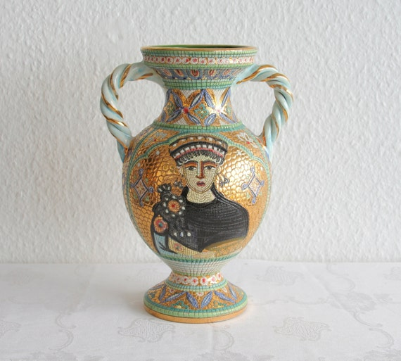 Gialletti deruta keramiek vaas byzantijnse moza ek vrouw - Decoratie studio ontwerp ...