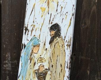 Nativity painting, nativity gift, christmas decor, rustic nativity art