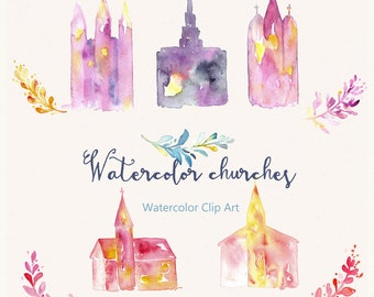 Church and temple Watercolor clip art, hand drawn. Church and temple  watercolor clipart. Baptisme, wedding, invitations, detailes.
